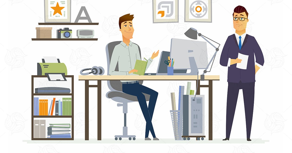 Download Partner Meeting - vector cartoon illustration by BoykoPictures