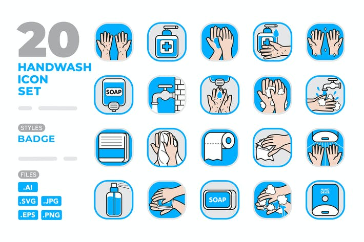 Thumbnail for Handwash Icon Set (Badge)