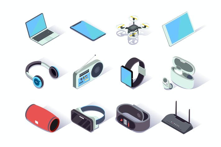 Thumbnail for Devices and Gadgets Isometric Icons Set