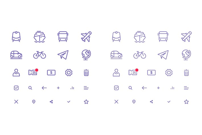 Cover Image For Set of Thin Line Vector Icons for Transport