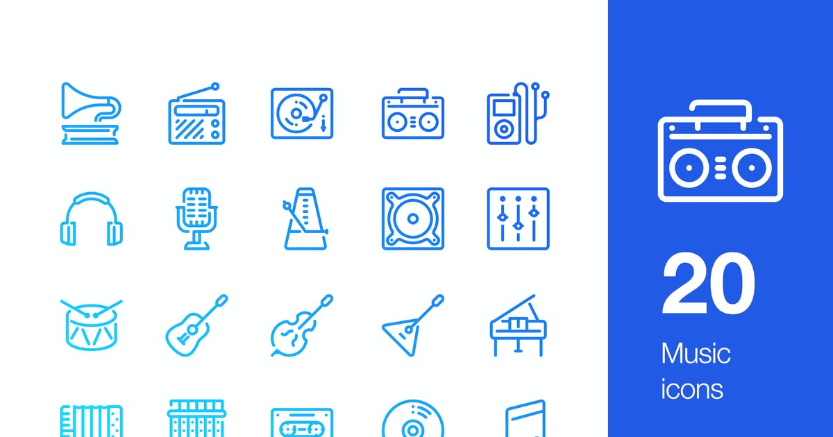 Download 20 Music icons by Unknow