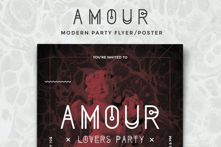 Cover Image For Amour - Modern Party Flyer/Poster