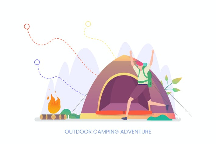 Thumbnail for Outdoor Camping Adventure Vector Illustration