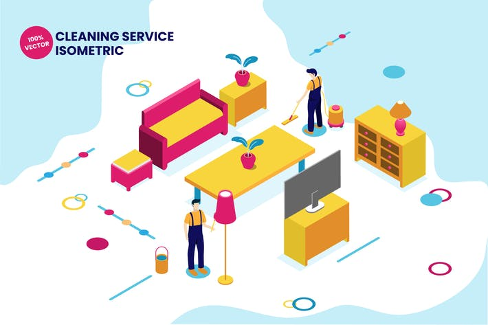 Thumbnail for Isometric Cleaning Service Vector Illustration
