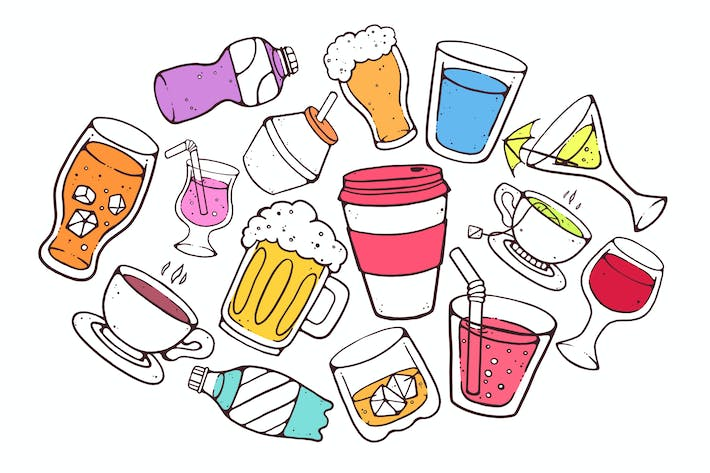 Cover Image For Colorful Drinks Doodles