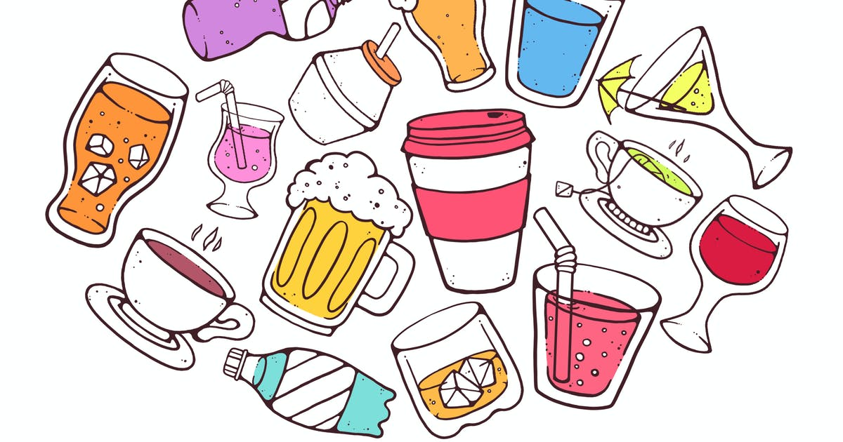 Download Colorful Drinks Doodles by Jumsoft