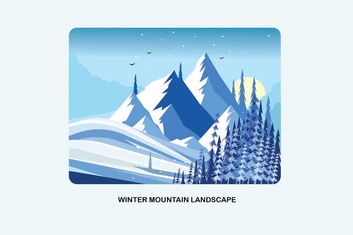 Thumbnail for Winter Mountain Landscape Vector Illustration