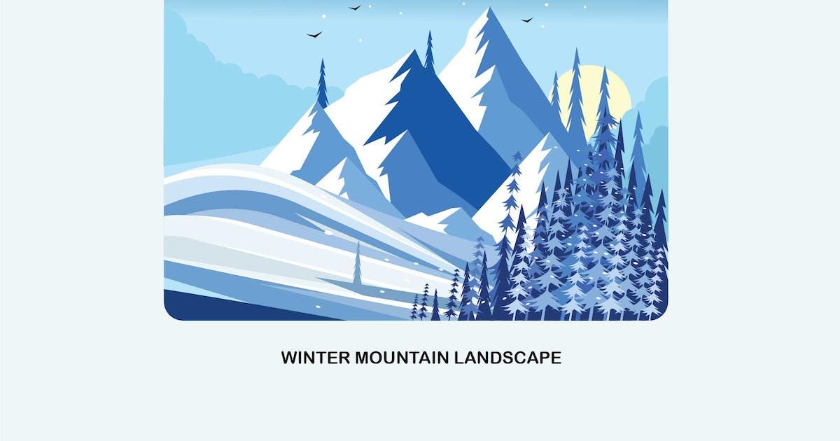 Download Winter Mountain Landscape Vector Illustration by IanMikraz