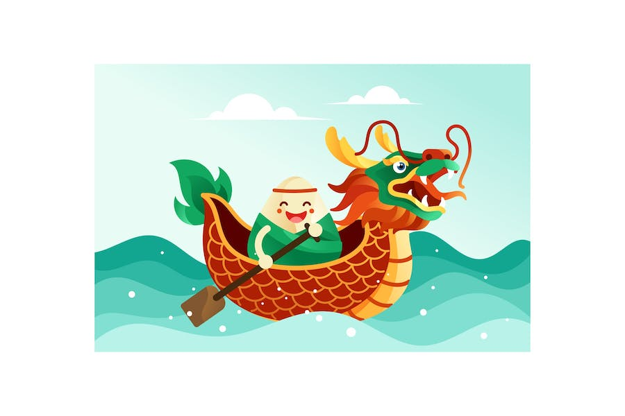 Chinese rice dumplings in dragon boat festival