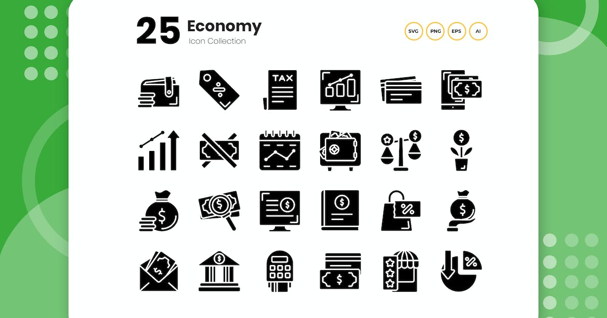 Download 25 Economy Glyph Icon by vectorclans