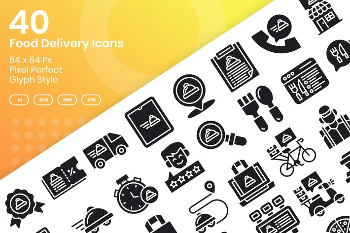 Thumbnail for 40 Food Delivery Icons Set - Glyph