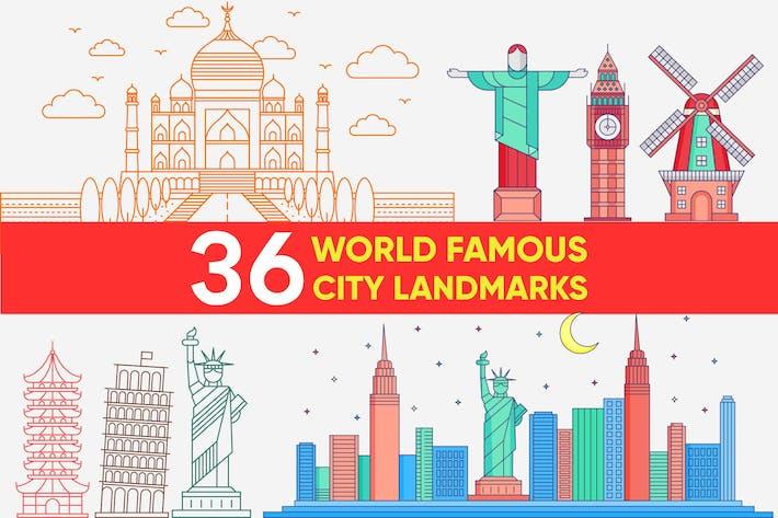 Thumbnail for Weltberühmtes Stadtdenkmal Vektor-Set