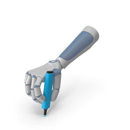 RoboHand hält einen blauen Highlight-Marker