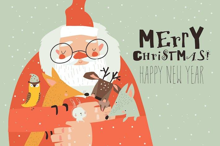 Thumbnail for Cartoon Santa Claus hugging little animals. Vector