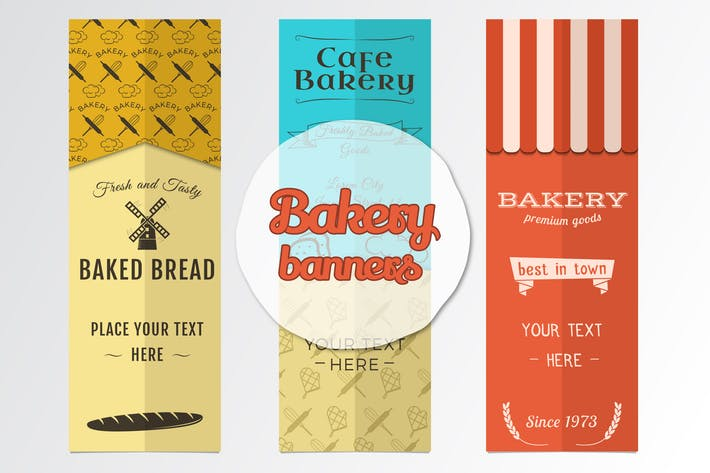 Thumbnail for Bakery Banners & Seamless Patterns