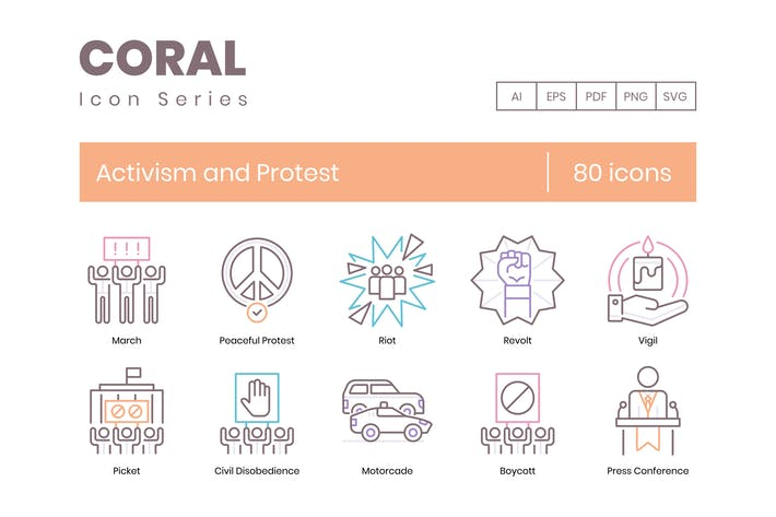 Thumbnail for 80 Activism and Protest Line Icons