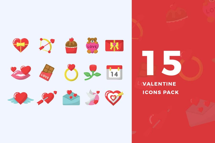 15 Flat Valentine Icons Pack