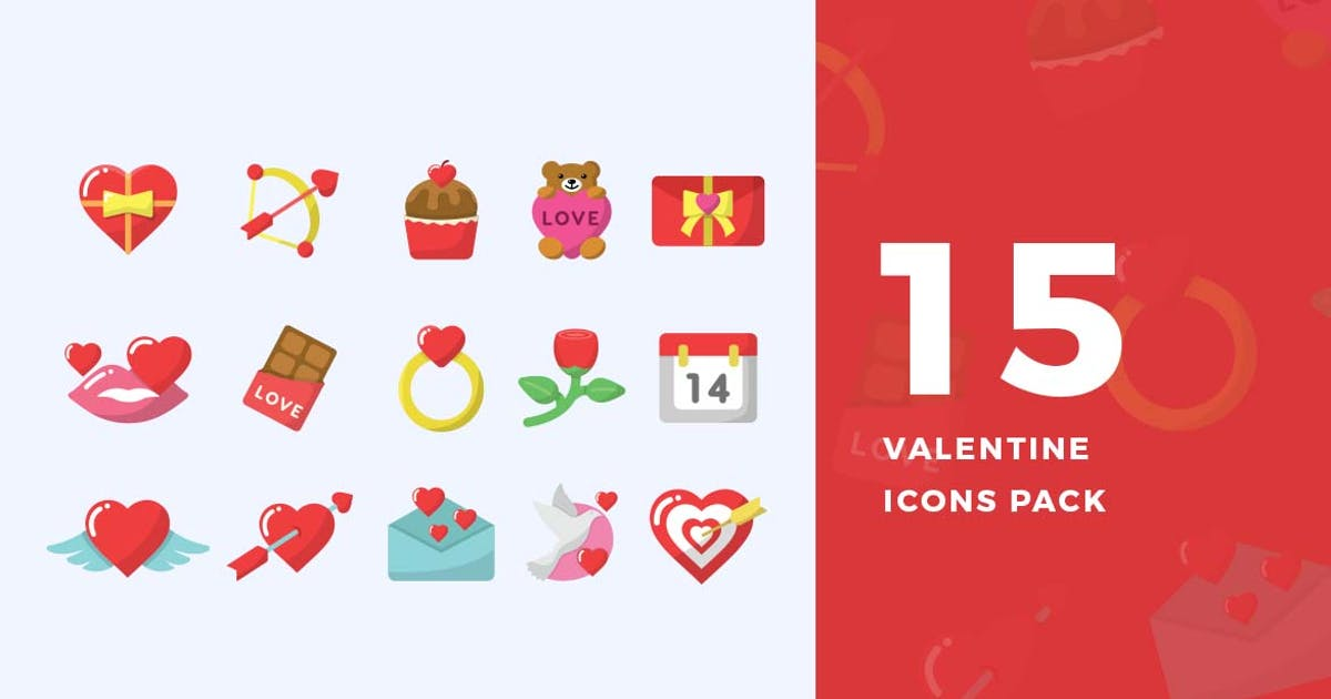 Download 15 Flat Valentine Icons Pack by ovozdigital