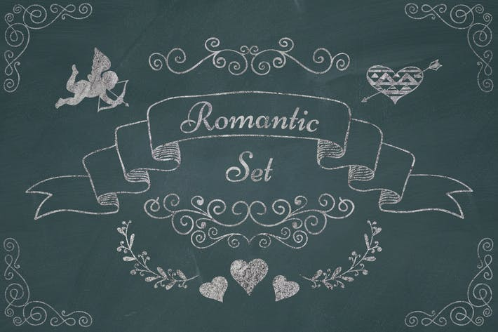 Thumbnail for Romantic Elements. Chalk Drawing PNG