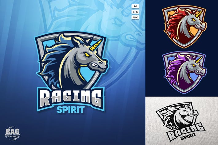 Thumbnail for Angry Unicorn Esport Logo Template