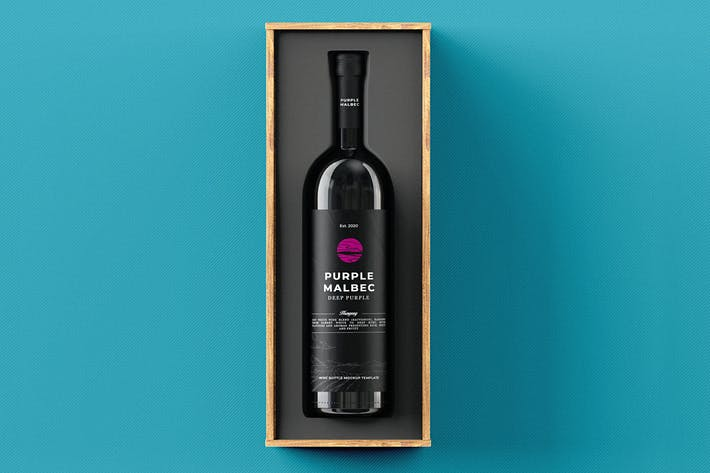 Thumbnail for Wine Bottle Gift Box Mock-up Template