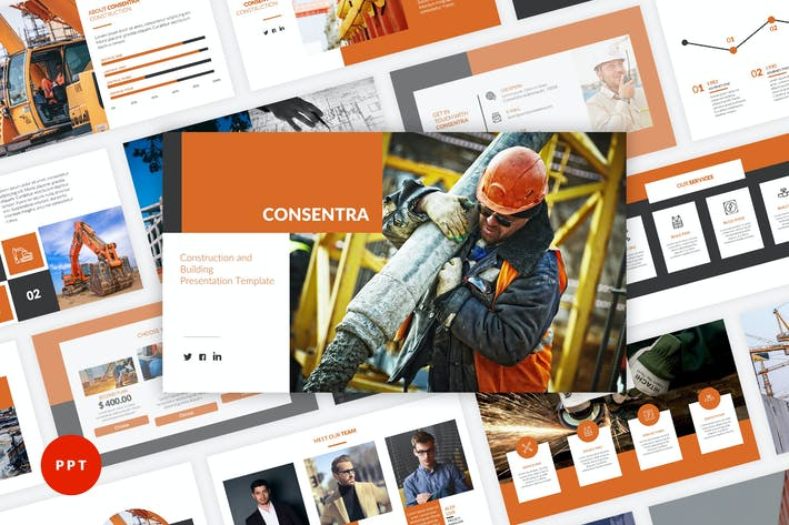 Thumbnail for Consentra - Construction PowerPoint Template