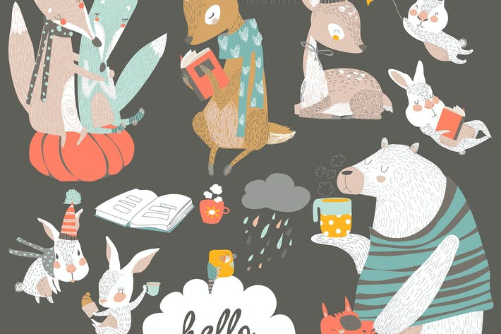 Thumbnail for Fall set with cute forest animals in cartoon style