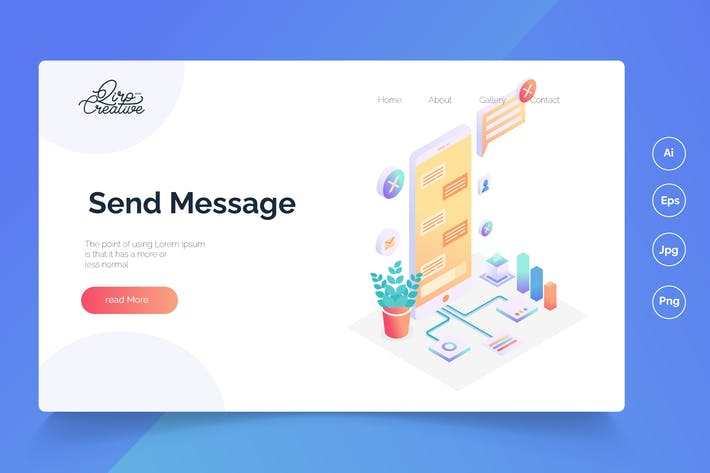 Thumbnail for send message - Isometric Landing Page