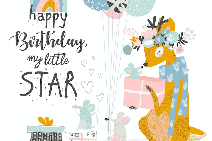 Thumbnail for Vector Greeting Birthday card with cute deer and m