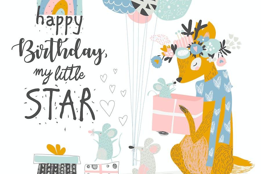 Tarjeta de felicitación de cumpleaños Vector con lindo ciervo y m