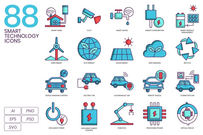 Cover Image For 88 Smart Technology Icons | Turquoise Series