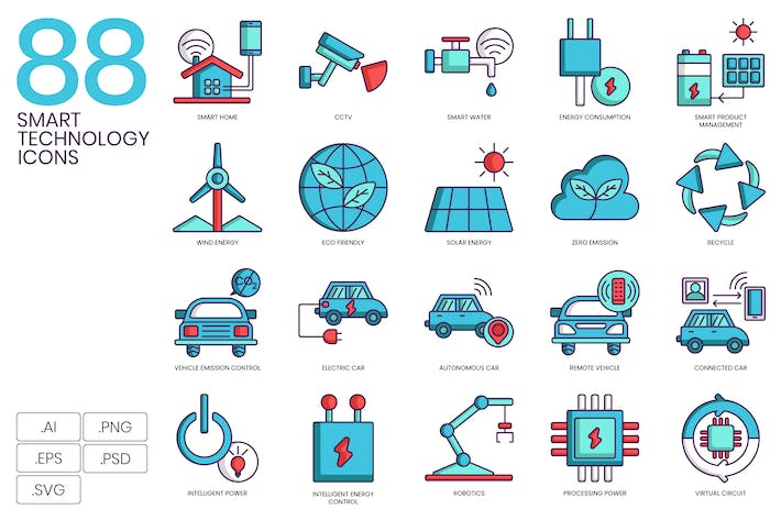 Thumbnail for 88 Smart Technology Icons | Turquoise Series