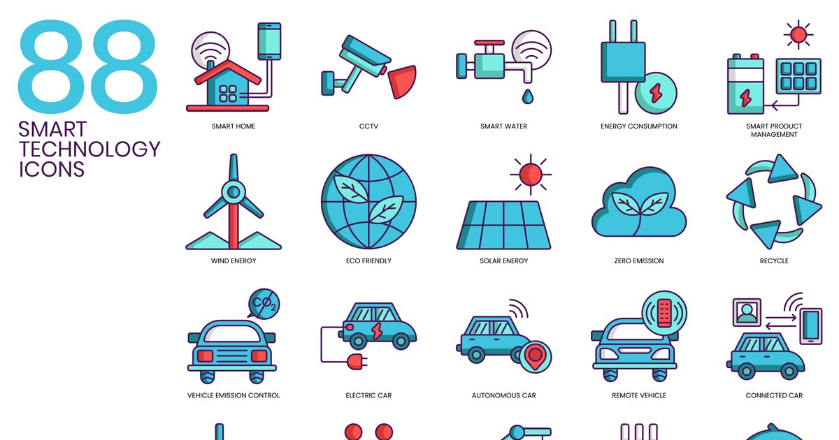 Download 88 Smart Technology Icons | Turquoise Series by Krafted
