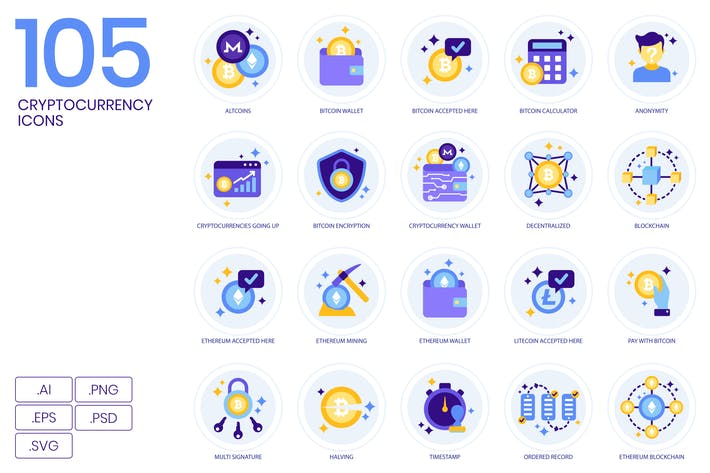 105 Иконки криптовалют