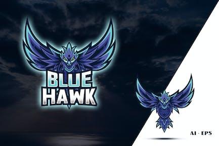 Blue Hawk - Mascot Logo