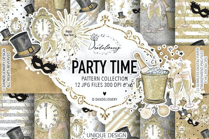 Thumbnail for Party Time digital paper pack