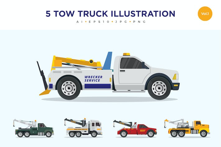 Thumbnail for 5 Tow Truck Vector Illustration Set 1