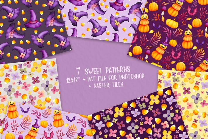 Thumbnail for Sweet Halloween Seamless Patterns
