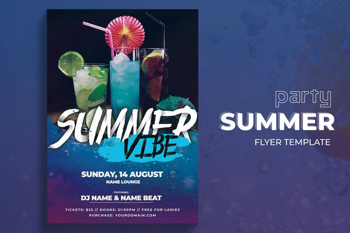 Thumbnail for Summer Vibes Party Flyer Template