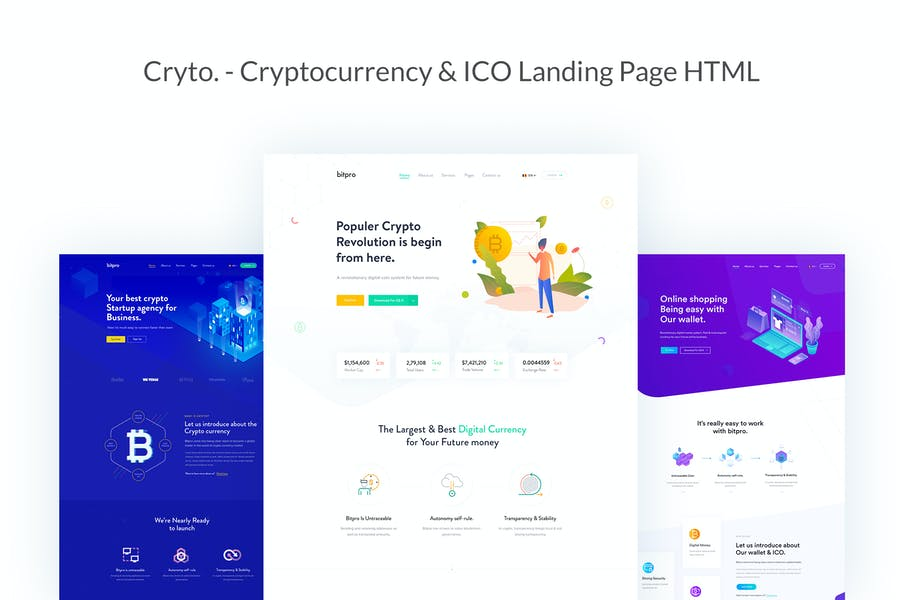 Cryto - Bitcoin & Cryptocurrency Landing Page HTML