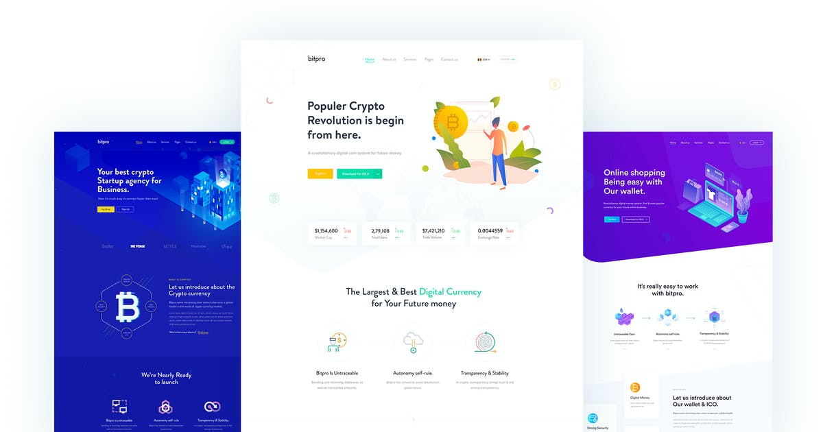 Download Cryto - Bitcoin & Cryptocurrency Landing Page HTML by CreativeGigs