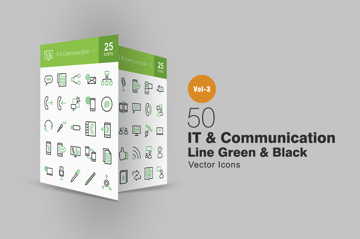 Thumbnail for 50 IT & Communication Line Green & Black Icons