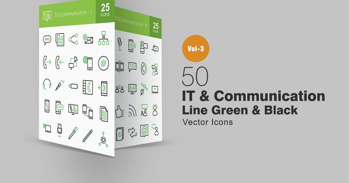 Download 50 IT & Communication Line Green & Black Icons by IconBunny