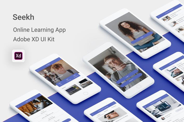 Thumbnail for Seekh - Online Learning UI Kit for Adobe XD