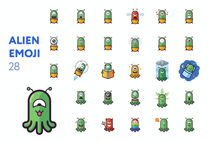 Thumbnail for Alien emoji set