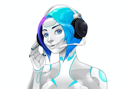 Female Android with Headphones