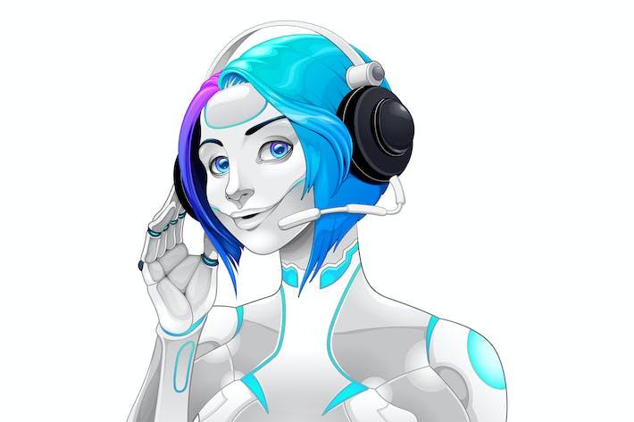 Женский Android с наушниками