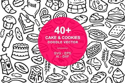 Kuchen und Kekse Doodle Art Illustration