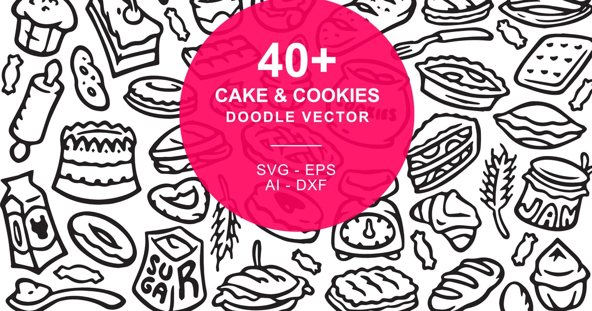 Download Cake and Cookies Doodle Art Illustration by yipianesia