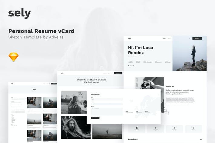 Thumbnail for Sely - Personal Resume vCard Sketch Template